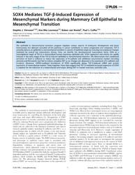 Plos One : Sox4 Mediates Tgf-b-induced E... by Welm, Alana, L.