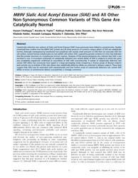 Plos One : M89V Sialic Acid Acetyl Ester... by Bansal, Geetha, P.