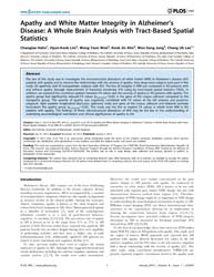 Plos One : Apathy and White Matter Integ... by Herholz, Karl