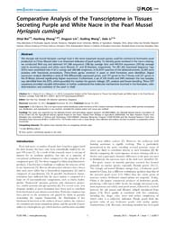 Plos One : Comparative Analysis of the T... by Yue, Gen, Hua