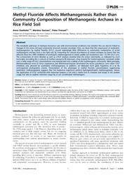 Plos One : Methyl Fluoride Affects Metha... by Neufeld, Josh