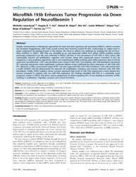 Plos One : Microrna-193B Enhances Tumor ... by Rao, Jasti