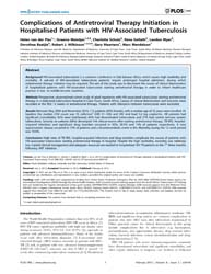 Plos One : High Rates of Tb-iris, Hospit... Volume 7 by Braitstein, Paula