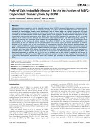 Plos One : Role of Salt-inducible Kinase... by Zhou, Renping