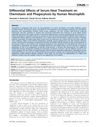 Plos One : Differential Effects of Serum... by Engler, Adam, J.