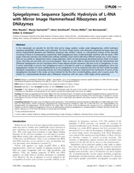 Plos One : Spiegelzymes ; Sequence Speci... by Vertessy, Beata, G.