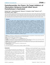 Plos One : Pantothenamides Are Potent, O... by Ralph, Stuart, Alexander