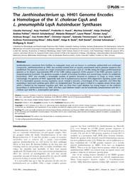 Plos One : the Janthinobacterium Sp. Hh0... by Janssen, Paul, Jaak