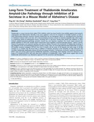 Plos One : Long-term Treatment of Thalid... by Xie, Zhongcong