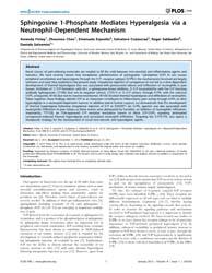 Plos One : Sphingosine 1-phosphate Media... by Baccei, Mark, L.