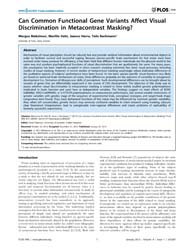 Plos One : Can Common Functional Gene Va... by Paterson, Kevin
