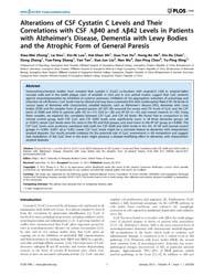 Plos One : Alterations of Csf Cystatin C... by Buch, Shilpa, J