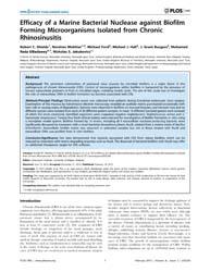Plos One : Efficacy of a Marine Bacteria... by Vadivelu, Jamunarani