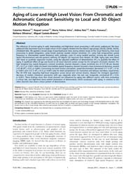 Plos One : Aging of Low and High Level V... by Ptito, Maurice