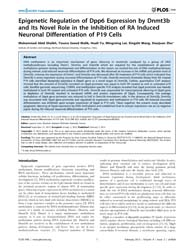 Plos One : Epigenetic Regulation of Dpp6... by Coen, Laurent