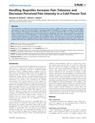 Plos One : Handling Ibuprofen Increases ... by Mouraux, André