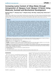 Plos One : Increasing Lysine Content of ... by Unver, Turgay