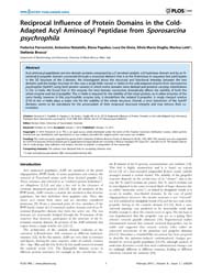 Plos One : Reciprocal Influence of Prote... by Kobe, Bostjan