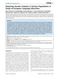 Plos One : Detecting Genetic Isolation i... by Caramelli, David
