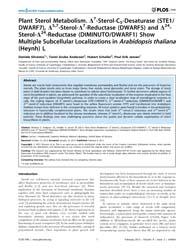 Plos One : Plant Sterol Metabolism. D7-s... by Heazlewood, Joshua, L