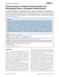 Plos One : Characterization of Osterix P... by Johnson, Rajasingh