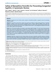 Plos One : Safety of Benzathine Penicill... by Young, Roger, C.