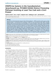 Plos One : Crispr-cas Systems in the Cya... by Crécy-lagard, Valerie, De