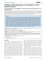 Plos One : Profiling of Rna Degradation ... by Kayser, Manfred