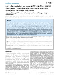 Plos One : Lack of Association Between N... by Liu, Chunyu