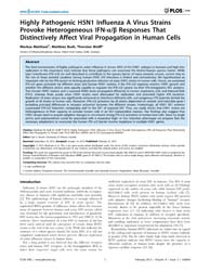 Plos One : Highly Pathogenic H5N1 Influe... by Brown, Earl, G.