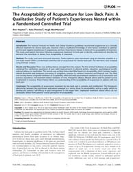 Plos One : the Acceptability of Acupunct... by Mendelson, John, E.