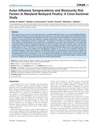 Plos One : Avian Influenza Seroprevalenc... by Leung, Frederick, C. C.
