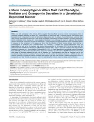 Plos One : Listeria Monocytogenes Alters... by Bayry, Jagadeesh