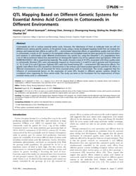 Plos One : Qtl Mapping Based on Differen... by Zhang, Tianzhen