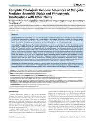 Plos One : Complete Chloroplast Genome S... by Badger, Jonathan H.