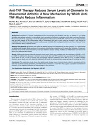 Plos One : Anti-tnf Therapy Reduces Seru... by Frey, Oliver