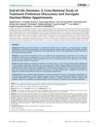 Plos One : End-of-life Decisions ; a Cro... by Smith, Thomas A.