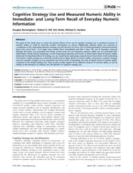 Plos One : Cognitive Strategy Use and Me... by Baudry, Michel