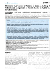 Plos One : Clinicians' Involvement of Pa... by Baradaran, Hamid Reza