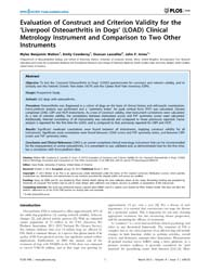 Plos One : Evaluation of Construct and C... by Wade, Claire