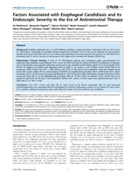 Plos One : Factors Associated with Esoph... by Chêne, Geneviève