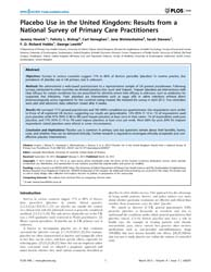 Plos One : Placebo Use in the United Kin... by Manchikanti, Laxmaiah