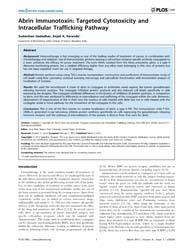 Plos One : Abrin Immunotoxin ; Targeted ... by Rishi, Arun