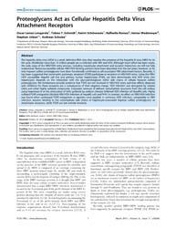 Plos One : Proteoglycans Act as Cellular... by Bartosch, Birke