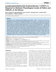 Plos One : Lysophosphatidylinositol-acyl... by Mohanraj, Rajesh