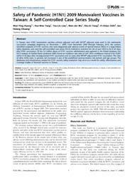 Plos One : Safety of Pandemic H1N1 2009 ... by McVernon, Jodie
