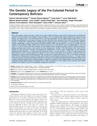 Plos One : the Genetic Legacy of the Pre... by Lalueza-fox, Carles