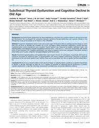 Plos One : Subclinical Thyroid Dysfuncti... by Soares, Paula