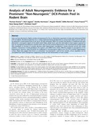 Plos One : Analysis of Adult Neurogenesi... by Alexandre, Hiroaki, Kihara