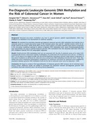 Plos One : Pre-diagnostic Leukocyte Geno... by Tost, Jorg